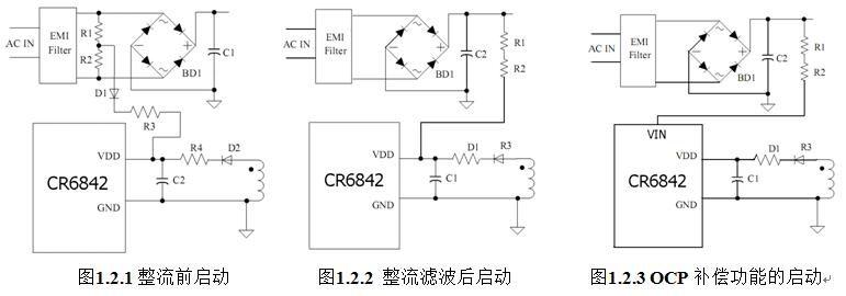 作启动脚时芯片支持从整流前启动及整 流滤波后启动的方式,其启动电路